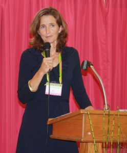 spiritually driven: Julie Ricciardi at speaking engagement of Catholic women.