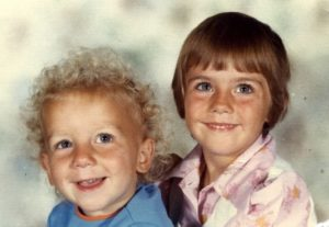 Amanda Thebe as a child with her brother.